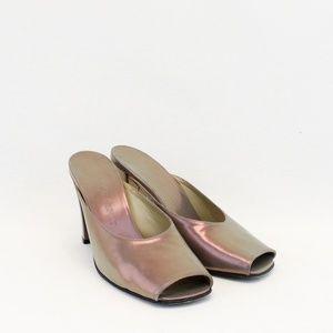 Yves Saint Laurent Purple Metallic Peep Toe Heels